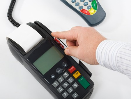 paying with credit card: Paying, credit card terminal (POS-terminal) for payment
