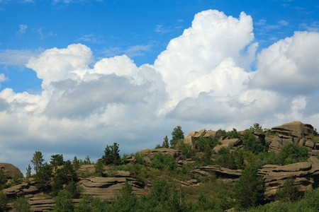 altay: Altay mountain landscape. Mountain, sky and clouds. Stock Photo