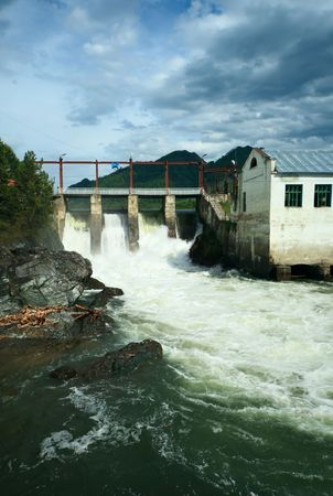 chemal: Hydroelectric power station, Katun river, Chemal, Altay, Russian Fedration