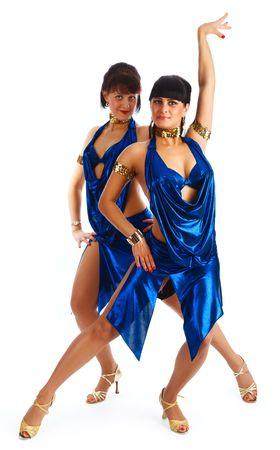 Beautiful samba dancers.  Dancing contest. Stock Photo