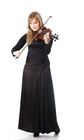 Portrait of young woman violinist. Isolated over white background. photo