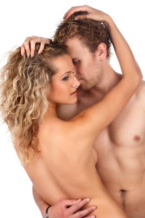 Happy young caucasian couple in romance. photo