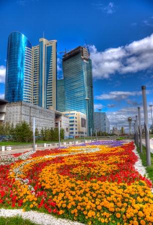 Ciudad paisaje de Astana, Kazajstán. HDR imagen.