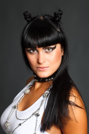 black cheerleader: Heavy metal cheerleader young woman