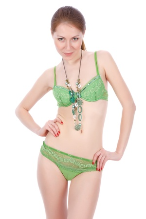 Slim attractive female in green lingerie  photo