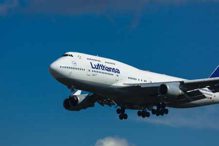 Boeing 747 approaching to airport Editorial