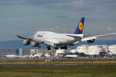 Boeing 747 landing at the airport