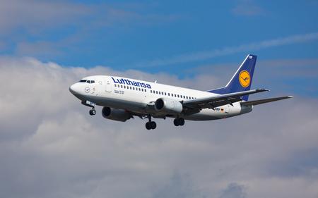 Boeing 737 flies in the sky