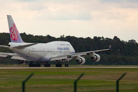 Boeing 747 is preparing for takeoff