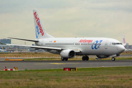 Boeing 737 taxis on the runway Editorial