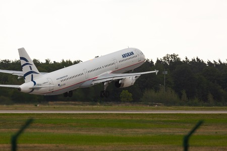 Airbus A321 takes off into the sky