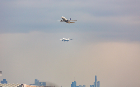Two planes over the airport