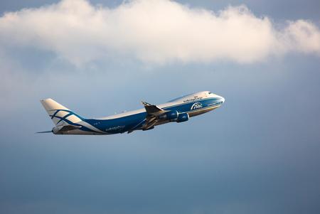 Boeing 747 flies in the sky Editorial