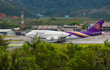 Boeing 747 Thai accelerates for takeoff Editorial