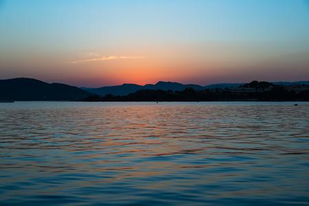 Golden Sunset on Lake Pichola 写真素材