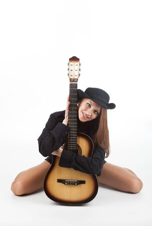 Sexy girl with a guitar Stock Photo