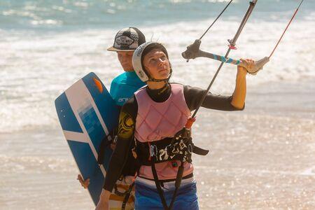 Sports kitesurfing at sea