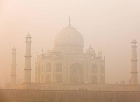 Taj Mahal in the morning in the fog
