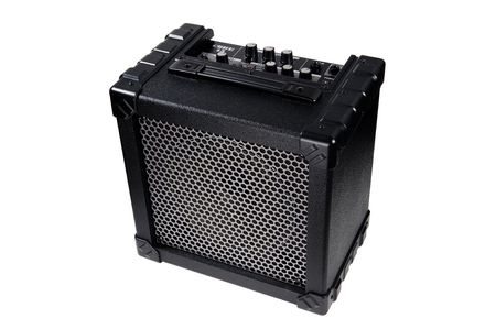 guitar amplifier on white background photographed in studio Stock Photo
