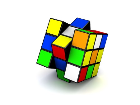 colour cube close-up on white background Editorial