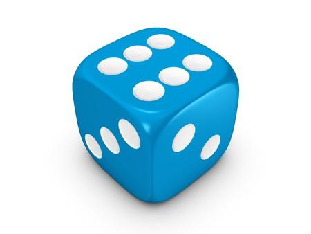 blue dice isolated on white background photo