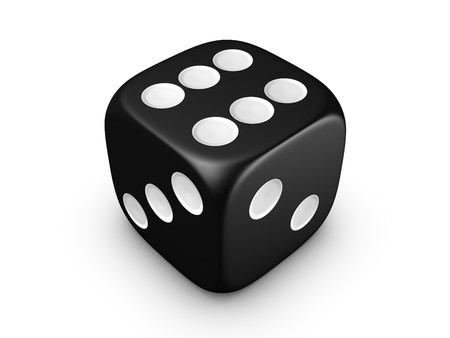 5 6: black dice isolated on white background Stock Photo
