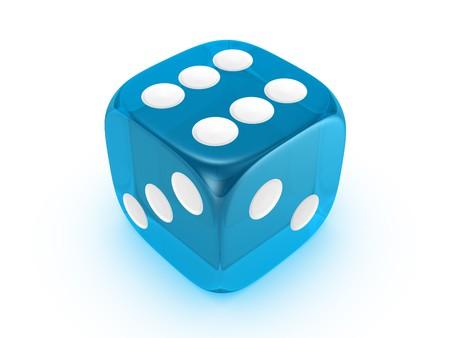 blue translucent dice isolated on white background Stock Photo
