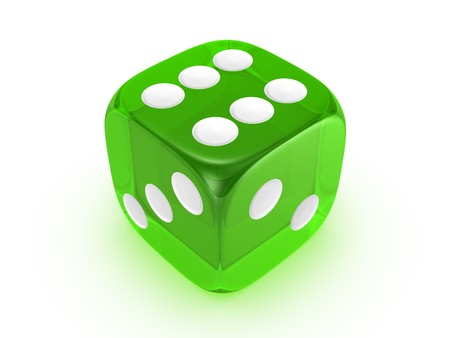 translucent green dice on white background Stock Photo