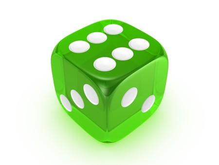 translucent green dice on white background Archivio Fotografico