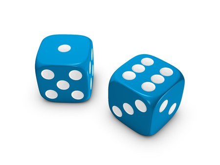 blue dice isolated on white background Stock Photo