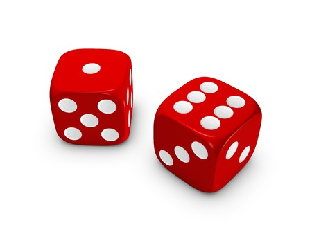 red dice isolated on white background Stock Photo