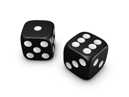 black dice isolated on white background Stock Photo