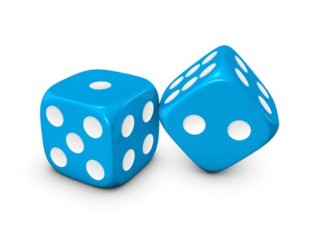 blue dice isolated on white background Archivio Fotografico