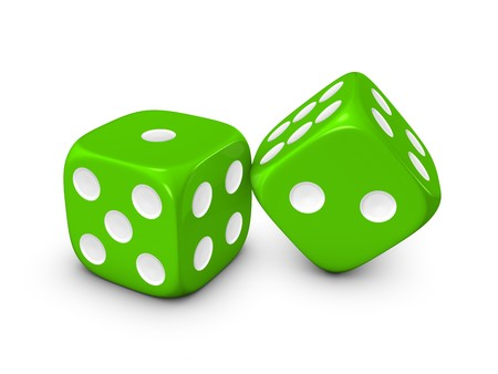 green dice isolated on white background
