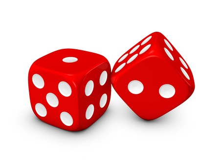 red dice isolated on white background Archivio Fotografico