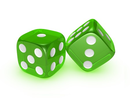 green translucent dice isolated on white background