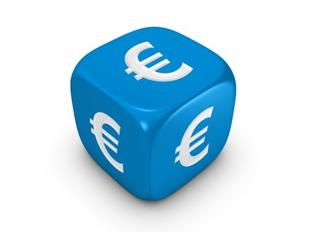 investmen: one blue dice with euro sign isolated on white background Stock Photo