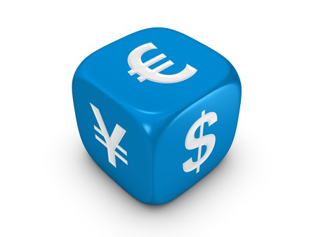 one blue dice with dollar euro yen sign isolated on white background