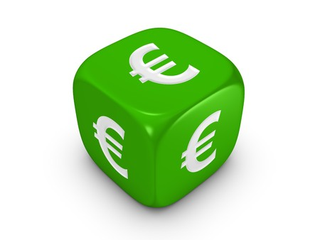 one green dice with euro sign isolated on white background Stock Photo