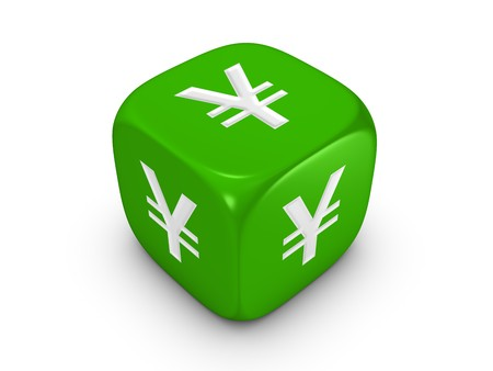 one green dice with yen sign isolated on white background Stock Photo