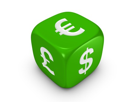 one green dice with dollar euro pound sign isolated on white background