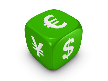 one green dice with dollar euro yen sign isolated on white background