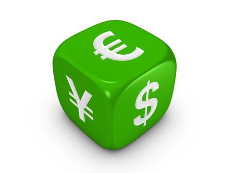 Uno verde con dadi euro dollaro yen segno isolato su sfondo bianco Archivio Fotografico - 4353025