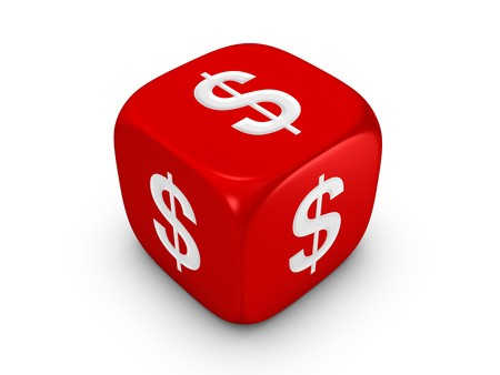investmen: one red dice with dollar sign isolated on white background