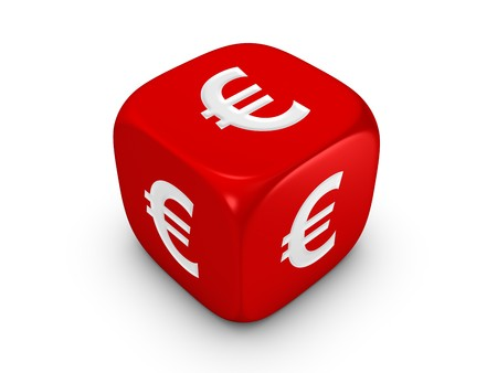 one red dice with euro sign isolated on white background