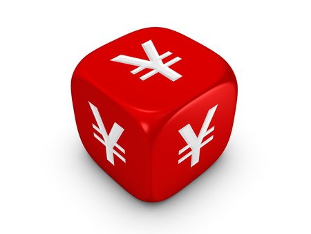 yen sign: one red dice with yen sign isolated on white background