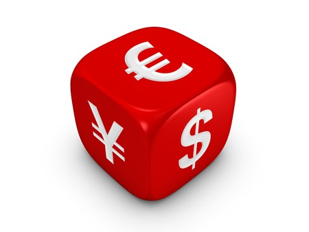 one red dice with dollar euro yen sign isolated on white background