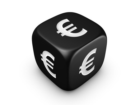 investmen: one black dice with euro sign isolated on white background