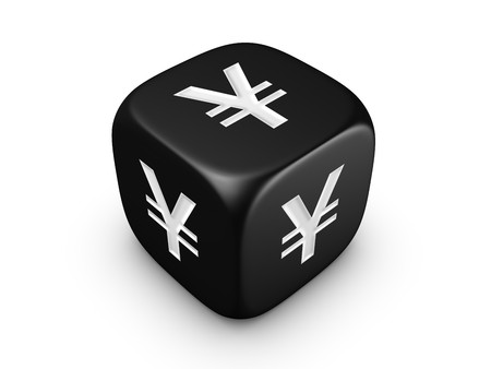 one black dice with yen sign isolated on white background