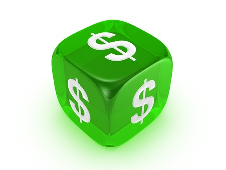one translucent green dice with dollar sign isolated on white background Stock Photo